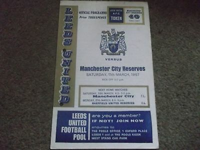 Leeds United V Manchester City Reserves Central League 11Th March 1967