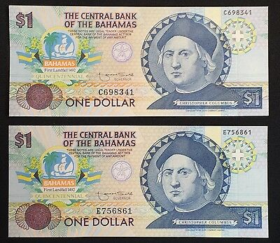1992 $1 The Central Bank Of The Bahamas. UNC.  Christopher Columbus. 2 Note Set