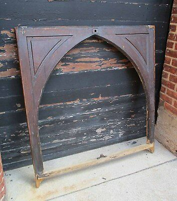 Antique Large Gothic Victorian Arch Solid Oak Raised Panel Window/Picture Frame