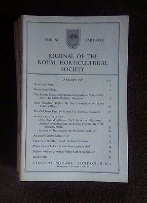 Journal of the Royal Horticultural Society 1965 12 volumes