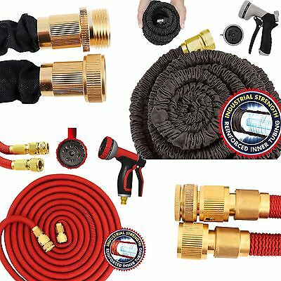 Expandable Hose Pipe Garden Hose Heavy Duty Spray Gun 50/100/150/150FT Black/Red