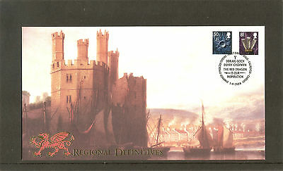 RARE BUCKINGHAM FDC. BCD6W. WALES 50p & 81p. 01-04-2008. CARDIFF POSTMARK.