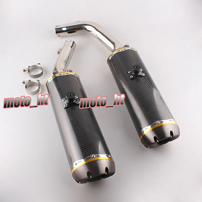 Pair Stainless Motorcycle Exhaust Carbon Fiber For Yamaha YZF R1 09-12