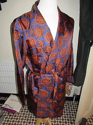 Vintage 1960's Vibrant Orange & Blue Paisley design Smoking Jacket / robe. Prop