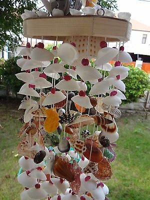 Sea Shell Hanging Mobile Home Garden Decoration with Lamp and cable Handmade