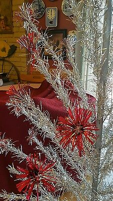 SUPER SALE 1940s RED Tip Silver Pom Pom Tree 6.5' Aluminum 45 Branch+stand NO BX