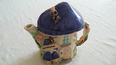 Decorative 'The Village Collectables' Teapot By Annie Rowe Of Downy Rose Cottage