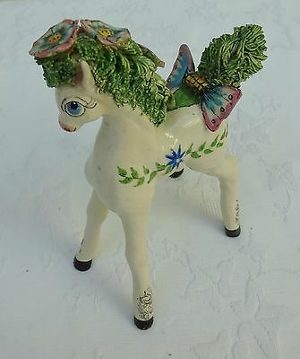 Basil Matthews Ceramic Pony Figurine Horse Standing Foal Floral My Little Pony
