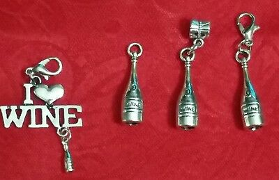 Antique Silver I Love Wine Charm - Wine Bottle - Winery - Wine Tasting