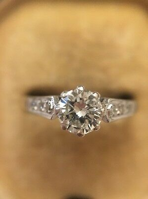 Antique Vintage Platinum And 18ct White Gold Diamond Solitaire Stone Ring .50