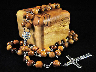 Handmade Bethlehem Palestine Olive Wood Bead Rosary Necklace Pewter Crucifix