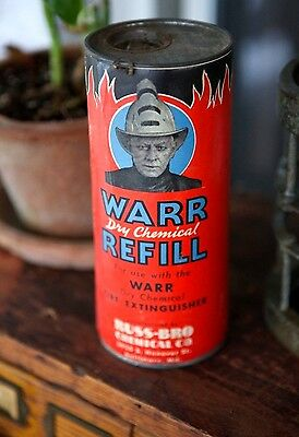 Antique VTG 1930s Fire Fighter Extinguisher Can Tin Ad Baltimore No Gas Oil Auto