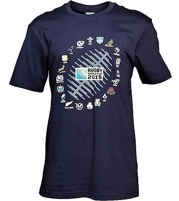 20 Nations Graphic 2015 Rugby Union World Cup Navy T-Shirt Size Medium