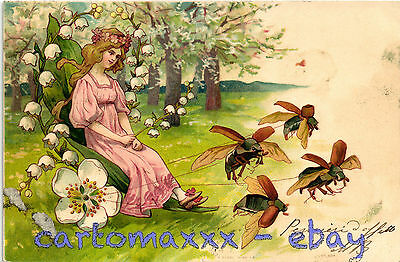 Art Nouveau - Beautiful Woman with Flowers and Bees, Belle Femme - L136