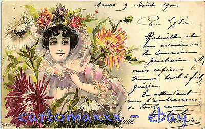 Art Nouveau - J. Abeille - Le Chrysantheme - Beautiful Woman, Belle Femme - L138