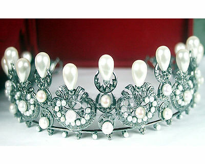 Victorian Style Reproduction 5.55Ct Rose Cute Diamond 925 Silver Tiara/crown