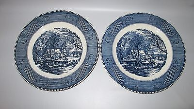 Royal China Currier & Ives 2 Dinner Plates Blue White Old Grist Mill 10""