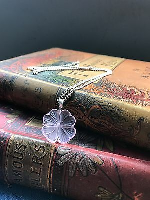 Lalique Pink Frosted Glass Flower Necklace Signed