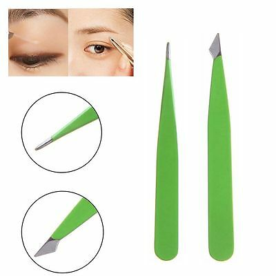 2Pcs Slant Beauty Makeup Tools Hair Removal Stainless Steel Eyebrow Tweezer