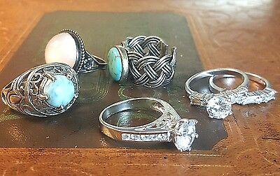 VTG 925 Vintage STERLING SILVER Jewelry Rings Lot SOLID Wholesale SET