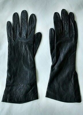 Vintage Christian Dior Silk Lined Black Leather Gloves Made in France Womens 7