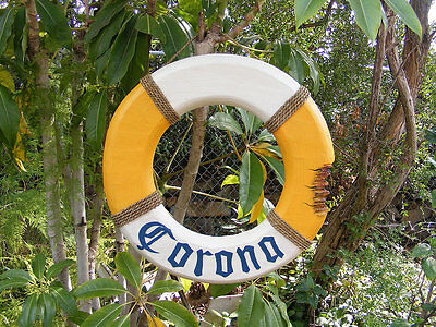 Corona Nautical Wood Life Ring Beer Bar Sign w/Shark bite Tiki Bar Man Cave 21""