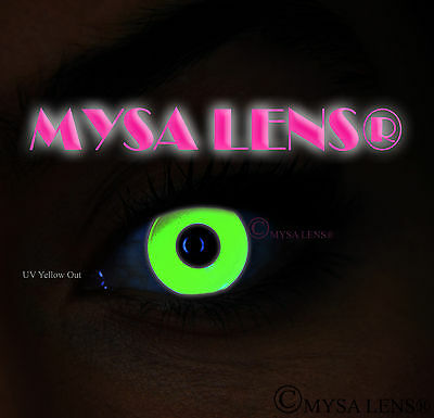 Crazy UV Ultra Violet Coloured Contact Lenses Kontaktlinsen Yellow Out UV