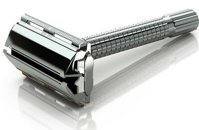 Mens Traditional Vintage Butterfly Safety Razor + 11 Double Edge Shaving Blades