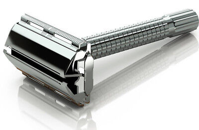 Mens Traditional Vintage Butterfly Safety Razor + 6 Double Edge Shaving Blades