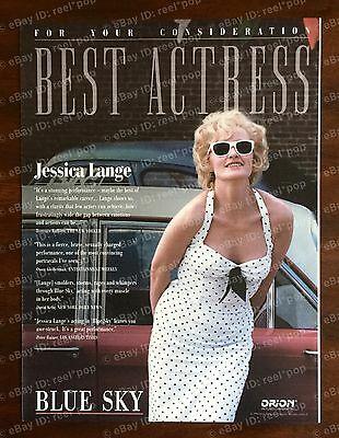 BLUE SKY Rare OSCAR AD 1994 BEST ACTRESS Jessica Lange FYC White Dress