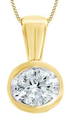 0.50 Ct Round Natural Diamond Solitaire Pendant Necklace 14K Yellow Gold