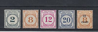Malayan Postal Union 1936-65 Postage Due Stamps Mint Hinged (#1089)