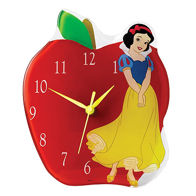 Enchanting Disney Collection Snow White Hand-painted Poison Apple Glass Clock