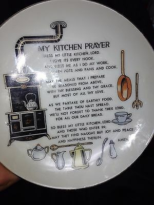 Vintage Kitchen Prayer Porcelain Plate - 1980's - Kitchen blessings