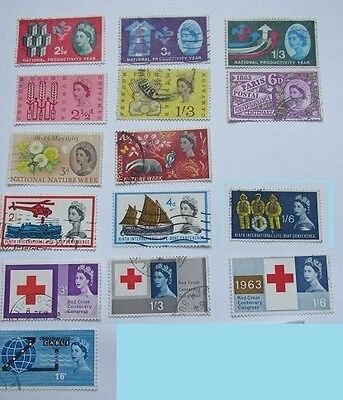 GB Stamps 1962-1963 – 7 Used Commemorative Sets, 15 stamps