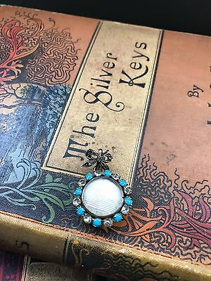 Antique Victorian Mourning Locket Opening Back Stone Set