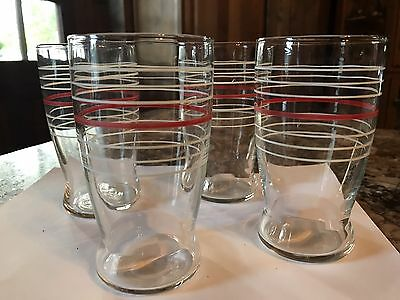 4 Vintage Swanky Swigs Drinking Glasses Tumblers  White Red Rings 60s 70s