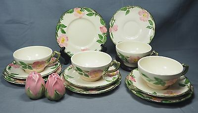 (14) Pc Franciscan Ware Desert Rose Tea Cup, Saucer, Salad Plate, Salt Pepper