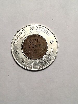 1947  Empire Motors Phila, Pa. Willys Overland Encased Penny Cent