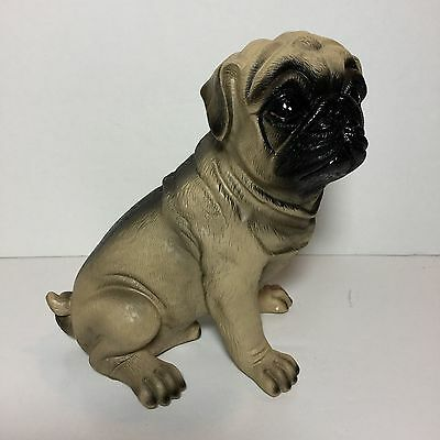"""Pug Ceramic Money Coin Piggy Bank Fawn Dog 7"""" New In box Realistic"""