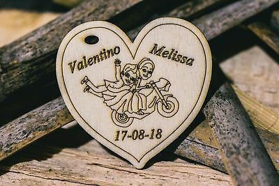 cuori legno sposini moto nomi heart engraved wood bombonniere marriage fest