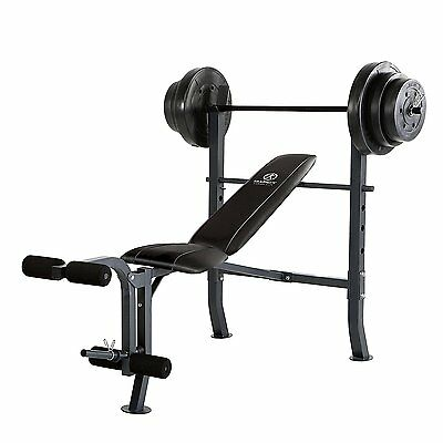 Mid-Width Bench and 100-Pound Weight Set Adjustable Flat Incline Decline Upright