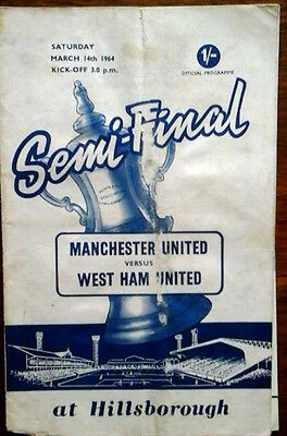 Man Utd V West Ham 14/3/1964 Fa Cup Semi Final Worn