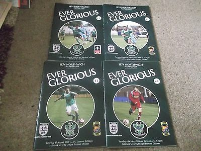 2016/17 1874 Northwich Programme Collection Homes North West Counties League X 4