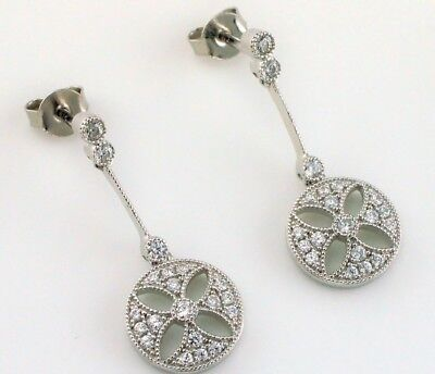 Fine Art Deco Style Solid Silver Circle Flower Shaped CZ Drop Earrings