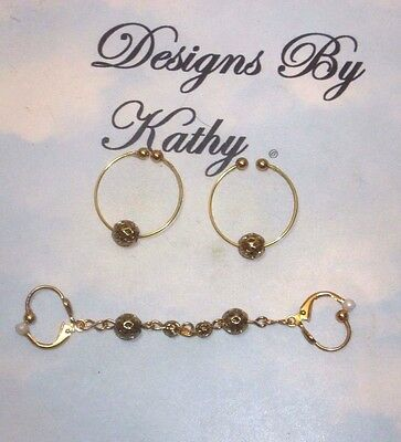 The Gold Tone  Non Piercing Nipple Rings  &  Double Body  Adornment  Set