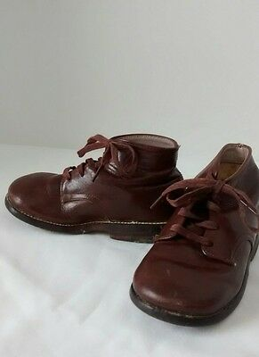 Vintage Brown Leather Baby Toddler Boy or Doll Shoes 5.5 Lace Up Mid Century