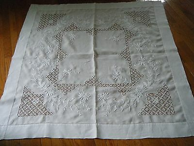 Old Tablecloth HD needle lace  & heavy white embroidery ladder lace border Spain
