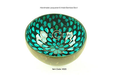 Handmade Decorative Coconut Bowl, Lacquered & Inlaid With Sea-Shell, Blue, H025