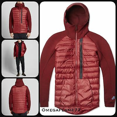 Sz Large Nike Aeroloft 800 Tech Fleece Jacket 678261-677 Team Red, Black
